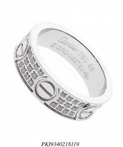 Anel aço super luxo Cartier Love com 3 fileiras de zircônia branca em banho de ródio-0