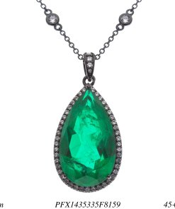 Colar super luxo gota G com corrente e pingente de zircônia branca e verde esmeralda fusion AAA em banho de ródio negro-0