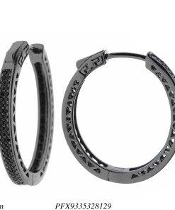 Argola super luxo GG com fecho de clique e zircônia negra dupla ao redor em banho de ródio negro-0