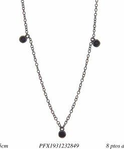 Corrente super luxo 40cm com ponto de luz de zircônia negra em banho de ródio negro-0