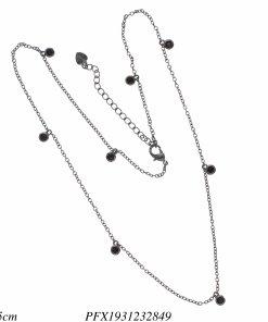 Corrente super luxo 40cm com ponto de luz de zircônia negra em banho de ródio negro-16307