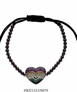 Pulseira luxo Shambala de contas de aço com coração de zircônia colorida em banho de ródio negro-0