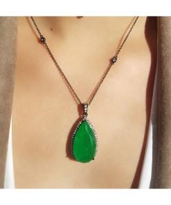 Colar super luxo gota G com corrente e pingente de zircônia branca e verde esmeralda fusion AAA em banho de ródio negro-19166
