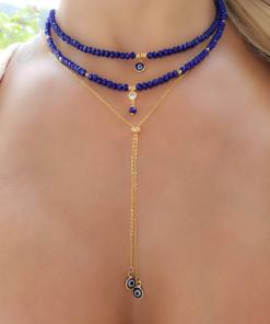 Colar 39cm de cristal azul, coração de zircônia branca e bola em banho de ouro 18k