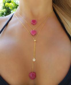 Colar 40cm Invisível com Coração de quartzo Rosa Pink em banho de ouro 18k