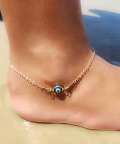 Tornozeleira 23cm com Olho Grego Azul em banho de ouro 18k