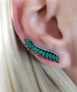 Brinco Ear Cuff com micro zircônia branca e verde em banho de ródio negro