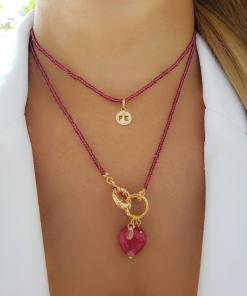 Colar 38cm com Cristal de Rocha Rosa Pink e Mandala P Fé de micro zircônia branca em banho de ouro 18k