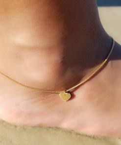 Tornozeleira 23cm com Placa de Coração M em banho de ouro 18k