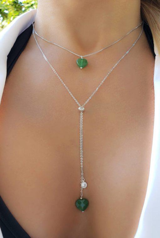 Colar com Coração de quartzo verde esmeralda em banho de ródio branco