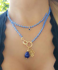 Choker 37cm com murano azul, bolas e ponto de luz de zircônia azul em banho de ouro 18k