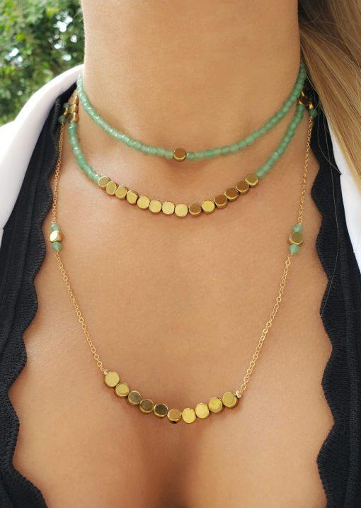 Choker 36cm com cristal de rocha verde água e hematita dourada em banho de ouro 18k
