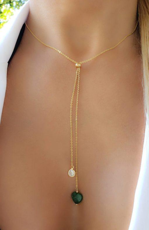 Colar 59cm Gravatinha com Coração de Jade Verde e ponto de luz de zircônia branca em banho de ouro 18k
