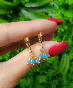 Argola Mandala cacho de cristal azul claro em banho de ouro 18k