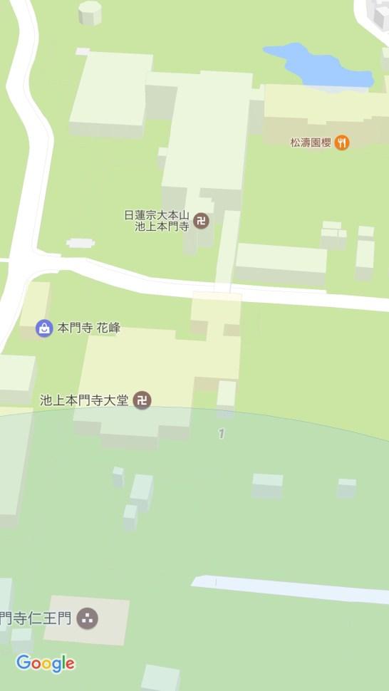 Google 3D map of Ikegami Honmonji Temple