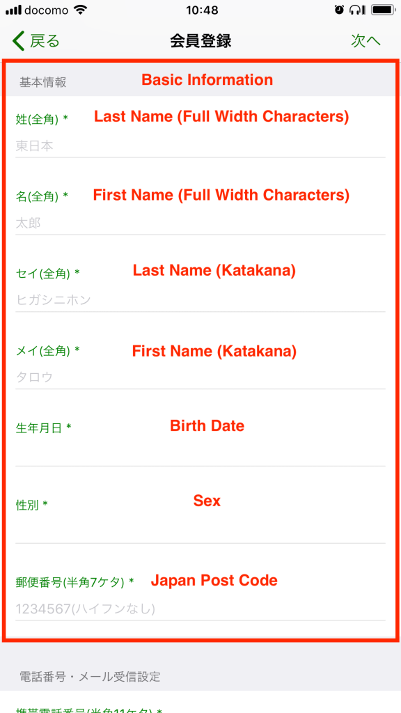 In the full width fields enter either katakana or full width Roman characters.