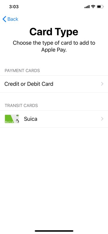 Tap Suica and follow screen instructions to add your plastic Suica