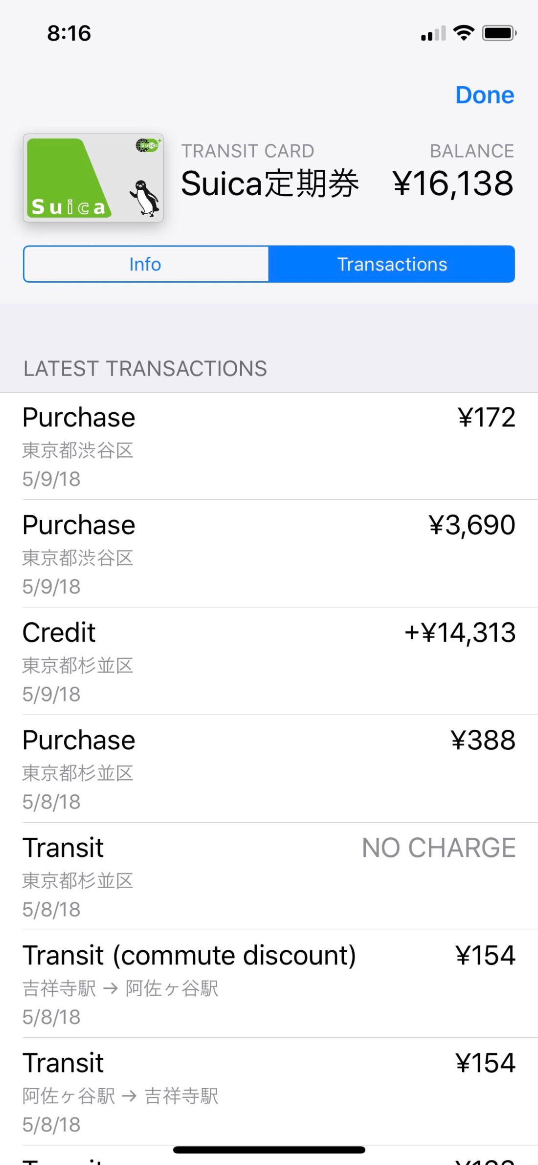 Apple Pay Suica transaction list includes transit