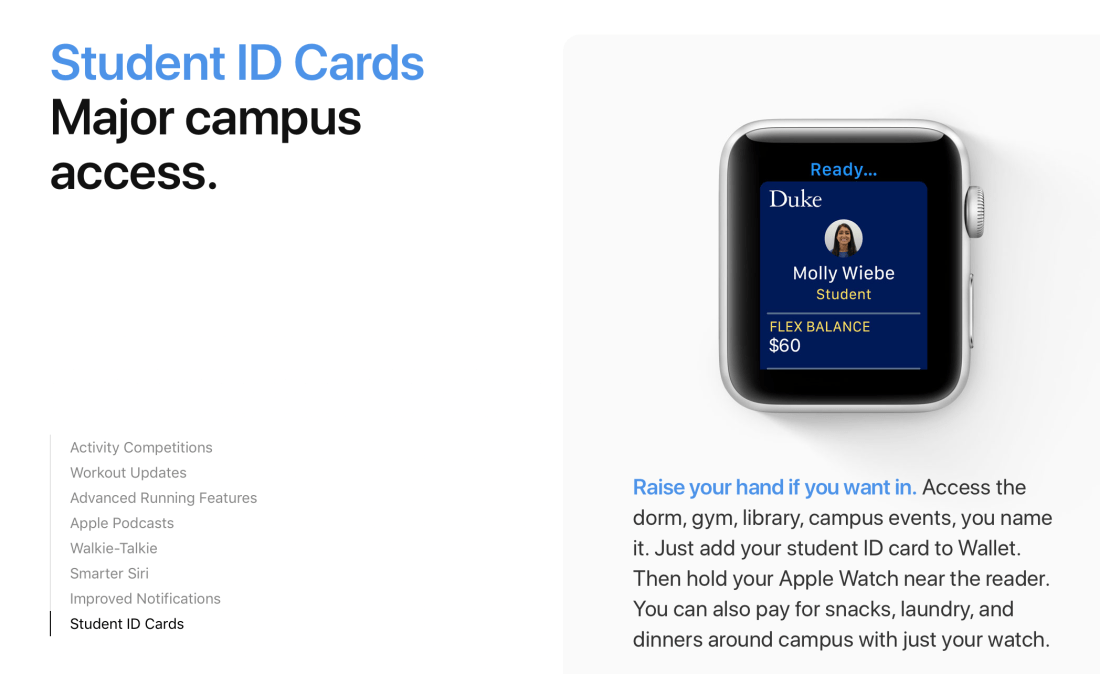 watchOS Student ID Cards