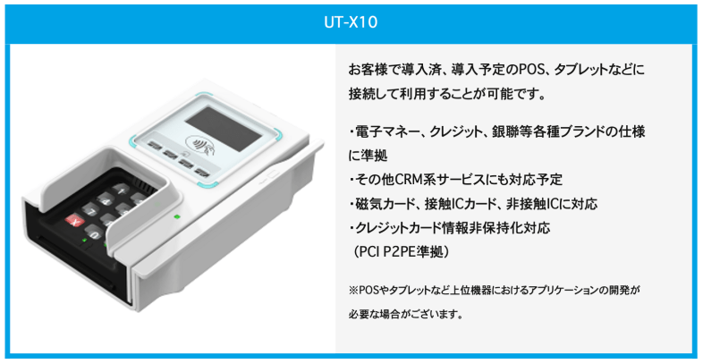 The UT-X10 reader handles EMV, FeliCa MIFARE, chip and pin and mag strip transactions