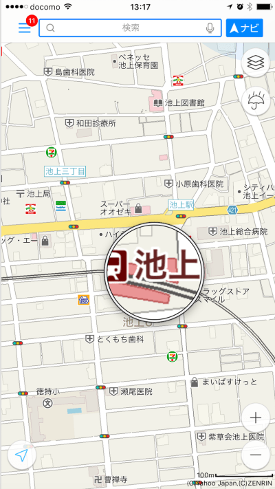 Yahoo Japan Maps Ikegami Station enlarged
