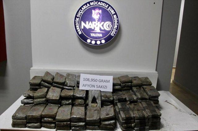 Yalova'da 108 kilo 950 gram Afyon sakızı ele geçirildi
