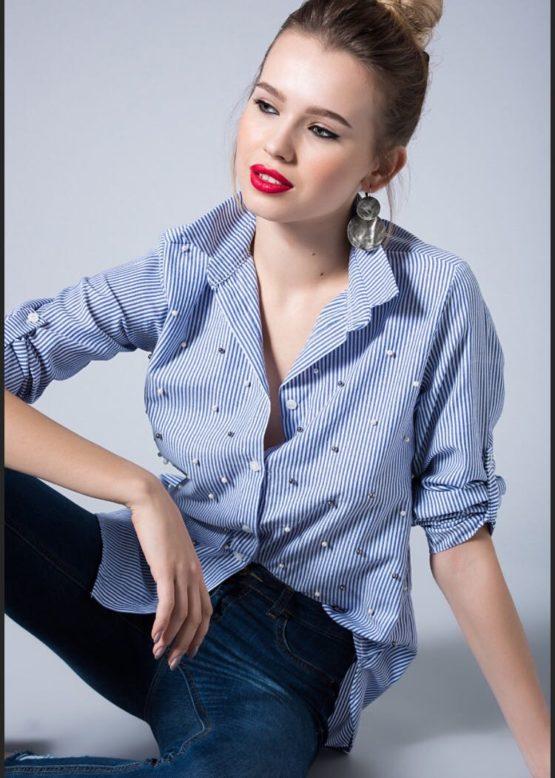 Koszula w paseczki z perełkami niebieska