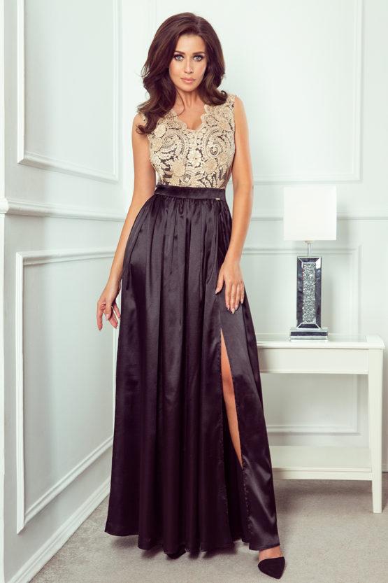 Dluga suknia z haftowanym dekoltem maxi atalantastyle 4