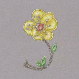 Jewel Flower Brooch rendering by Joana Miranda
