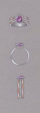 Pink diamond, rose gold and platinum ring study by Joana Miranda