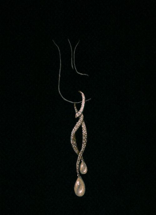Prize-winning Champagne Tango Earring Rendering by Joana Miranda