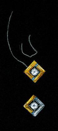Watercolor and Gouache 18K Yellow Gold, Sapphire and Diamond Earring Rendering by Joana Miranda