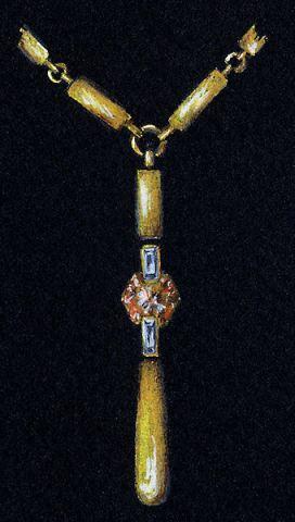 Watercolor and Gouache Gold, Diamond and Spessarite Garnet Pendant Rendering by Joana Miranda
