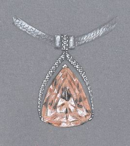Colored Pencil and Gouache Pendant Rendering, Variation #4 on John Dyer Morganite, by Joana Miranda