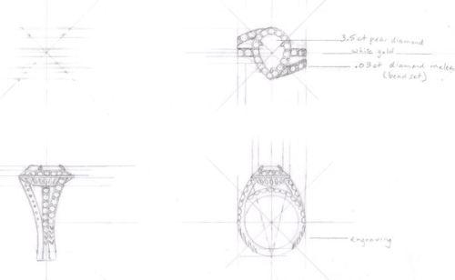 3-View Technical Drawing for Pear Shaped Diamond Ring by Joana Miranda