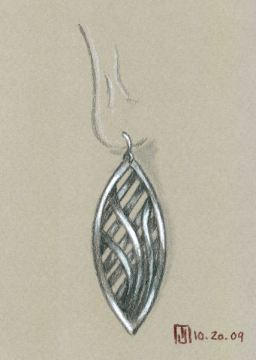 Pencil and Gouache Open Weave Earring by Joana Miranda