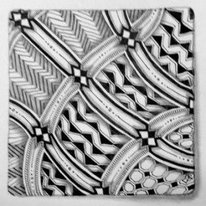 Zentangle tile featuring XYP tangle