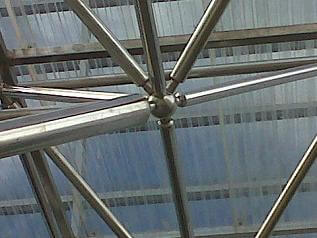 struktur, kerangka, space frame, boll joint, conset, hexagone