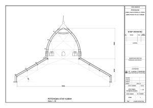 gambar, potongan, atap, limas, kerucut, kubah masjid