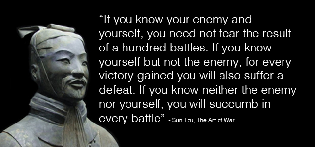 Image result for sun tzu if you know the enemy
