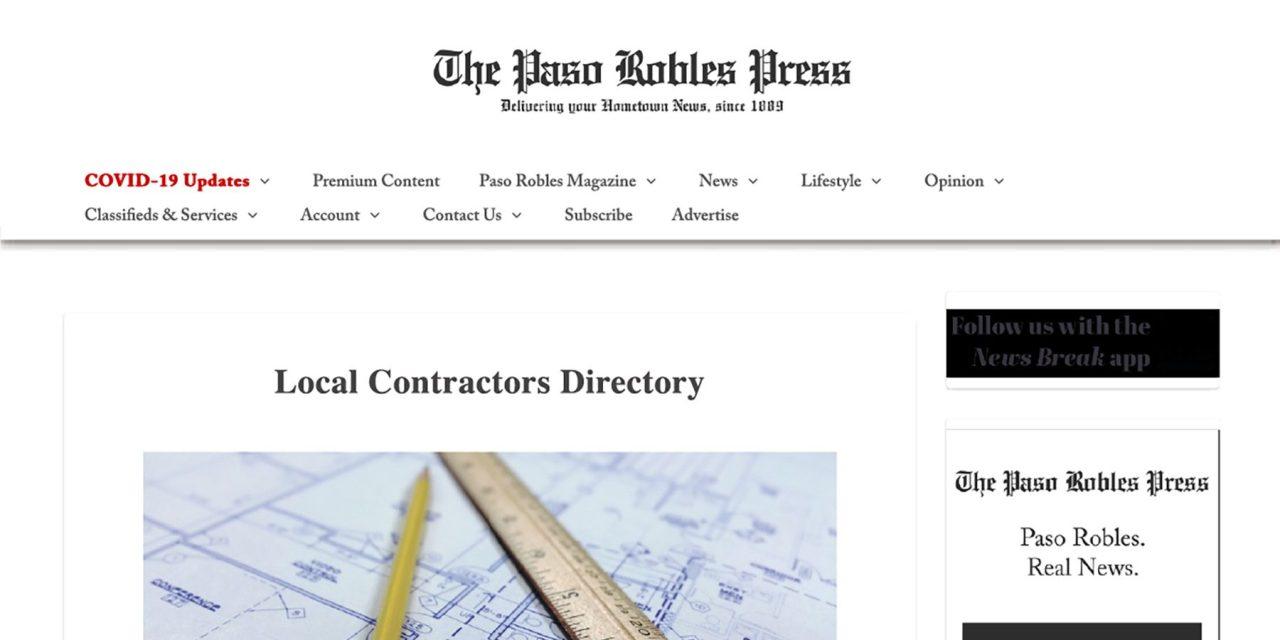 Atascadero News Contractors Directory Goes Digital