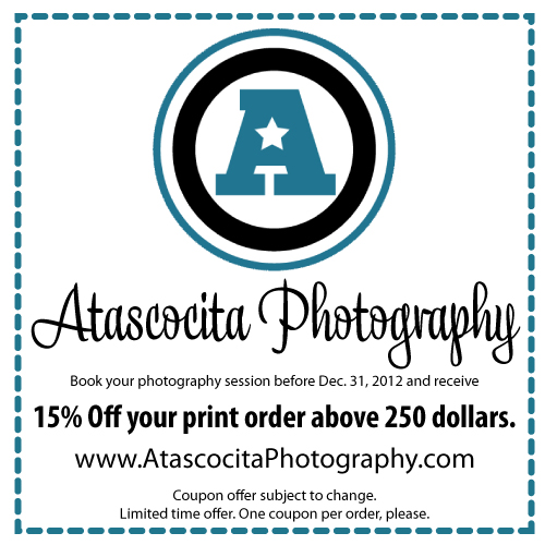 Print this coupon to save 15% on print orders over 250 dollars when you book a session with Atascocita Photography