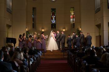 Prayer during the wedding ceremony.