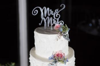 Hand drawn script cake topper, Mr. and Mrs., for the new husband and wife.