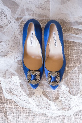 "The brides ""something blue"" satin Manolo's."