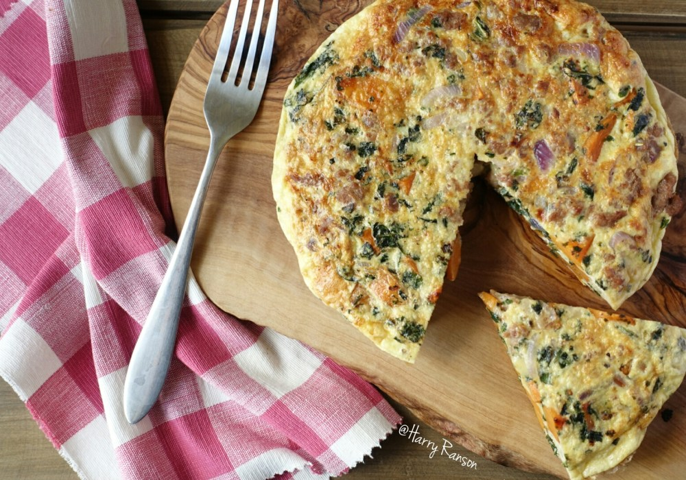 Wild Boar & Apple Sausage, Sweet Potato and Kale Frittata