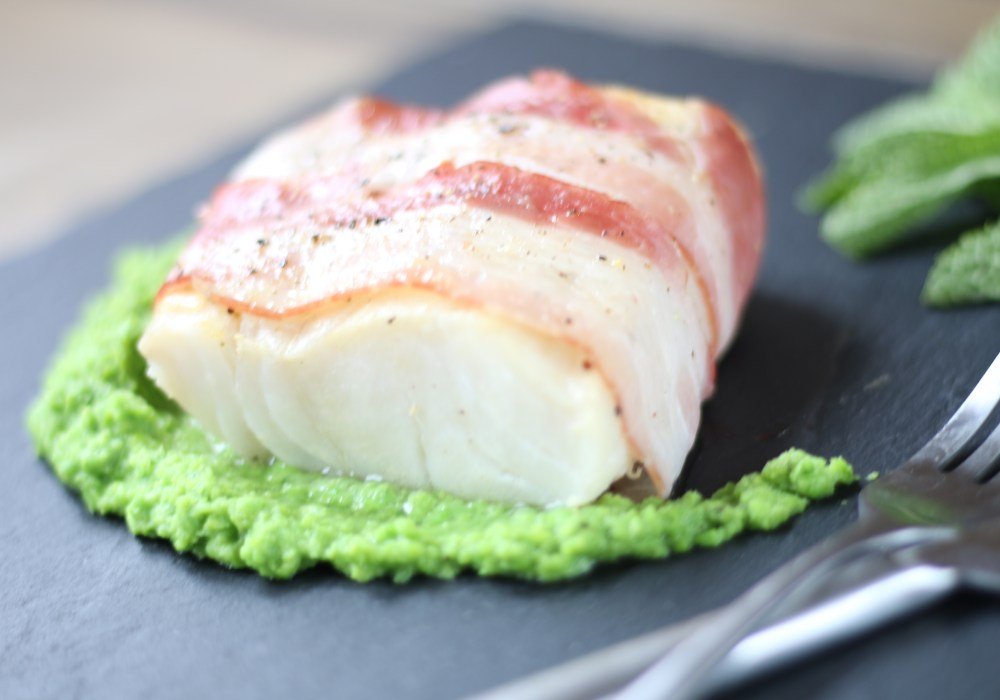 Pancetta-wrapped Cod with Posh Peas