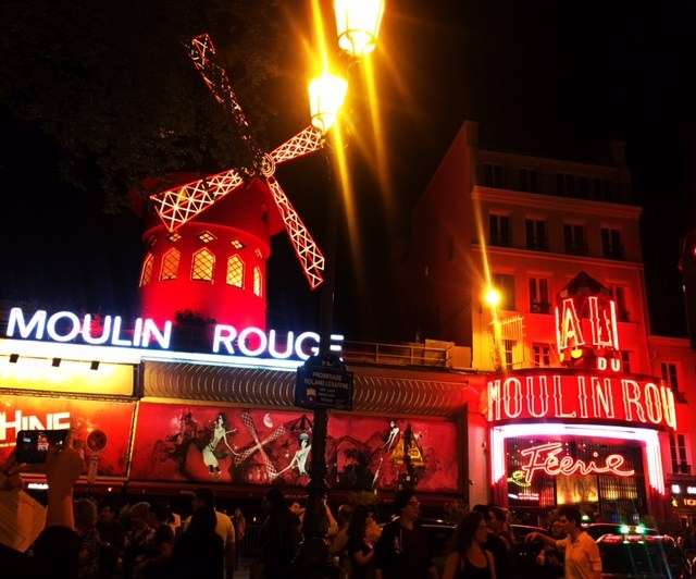 Night photo of neon lights Moulin Rouge
