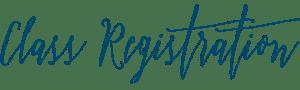 Class Registration in Blue Script Font