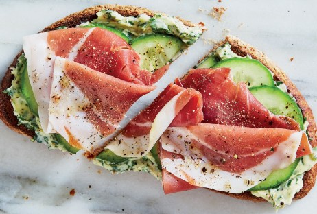 Prosciutto and avocado tartine